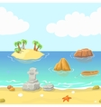 Seamless cartoon beach landscape with island vector image