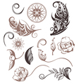 Set of Ornamental Boho Style elements vector image vector image