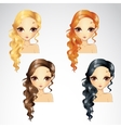 Set Of Wave Long Hair Styling vector image vector image