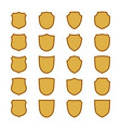 shield shape gold icons set simple flat logo on vector image