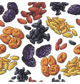 sketch style dried fruits seamless pattern on vector image
