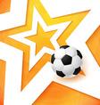 Soccer football poster Bright orange background vector image