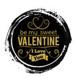 sweet valentines day gold banner on black grunge vector image vector image