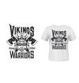 viking warrior tshirt print scandinavian knight vector image vector image