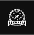 vintage mafia gangster gunman logo vector image vector image