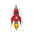vintage rocket ship blasting off drawing vector image