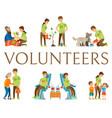 volunteers helping people donating blood set vector image