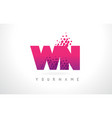 wn w n letter logo with pink purple color and vector image vector image