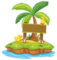 Wooden sign with two ducks on island vector image vector image