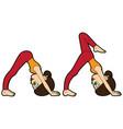 yoga asana set downward facing dog pose vector image vector image