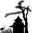 Asian house under a pine tree silhouette vector image vector image