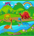 background scene with dinosaurs river vector image vector image