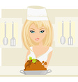 Beautiful lady cooking chicken or turkey in the vector image vector image