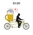 Beer lover Beer mug on bicycle Lovers of cycling vector image