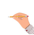 black pencil with rubber eraser in hand vector image vector image