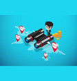businessman using binoculars to find location vector image vector image