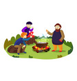 camp marshmallow on fire concept background vector image