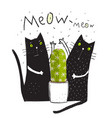 cats fighting cactus fun print vector image