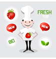 Chef - Cook with Strawberry on Plate vector image vector image