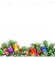 Christmas background with decorated branches of vector image vector image