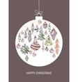 Christmas card with ball and christmas decorations vector image