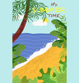 coast and ocean view palm tree summer vector image vector image