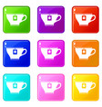 cup with teabag icons 9 set vector image vector image