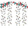 doodle party flags with confetti decoration design vector image
