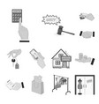 e-commerce and business monochrome icons in set vector image