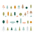 flat icon tree collection isolated on white vector image