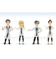 Four doctors in lab coats vector image