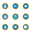 galley icons set flat style vector image vector image