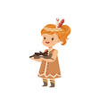 girl wearing native indian costume carrying an vector image vector image