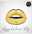 golden lips 8 march vector image vector image