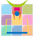 Gymnastics on bar in colors vector image
