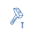 hammer with pin line icon concept hammer with pin vector image vector image