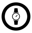 hand watch icon black color in circle or round vector image