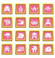 helmet icons set pink square vector image vector image