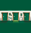 hotel corridor with closed numbered doors vector image