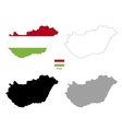 hungary country black silhouette and with flag vector image