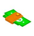 image dollars in brown holder or wallet keep vector image