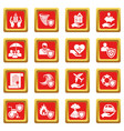 insurance icons set red square vector image vector image