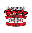 keep swinging my catcher likes the cool breeze v vector image