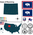 Map of Wyoming vector image