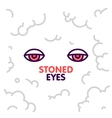 Marijuana stoned eyes on smoke clouds background vector image vector image