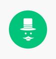 moustache hipster movember hat men white glyph vector image