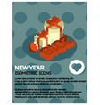 new year isometric poster vector image vector image
