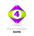 number four symbol in the colorful rhombus vector image vector image