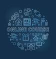 online course concept round blue outline vector image