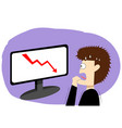 panic businessman in stock market art vector image vector image